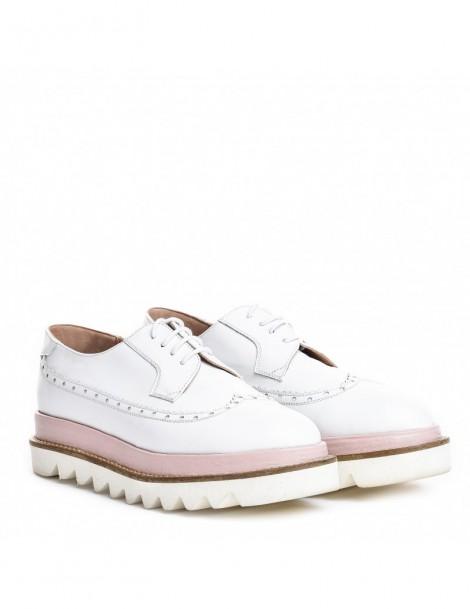 Pantofi dama Oxford White din Piele Naturala - The5thelement.ro