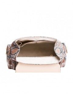Geanta Piele Naturala Dama Rucsac  RHEA CAPPUCINNO Snake - The5thelement.ro