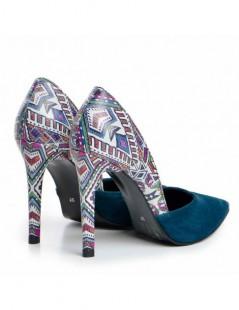 Pantofi dama Stiletto Bleumarin Aztec Piele Naturala - The5thelement.ro