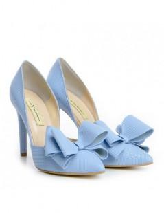 Pantofi dama Stiletto Bleu Bow Piele Naturala - The5thelement.ro