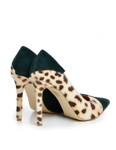 Pantofi Stiletto Piele Naturala Verde Leopard Selma - The5thelement.ro