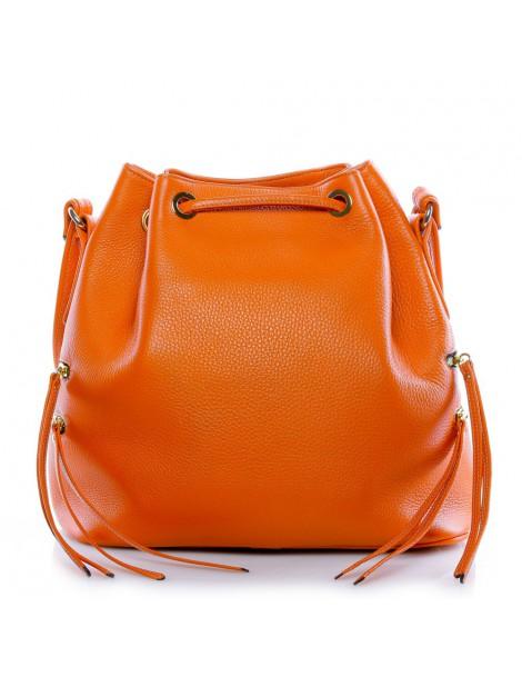 Geanta Dama Piele Naturala Zip Bucket Bag Orange - The5thelement.ro