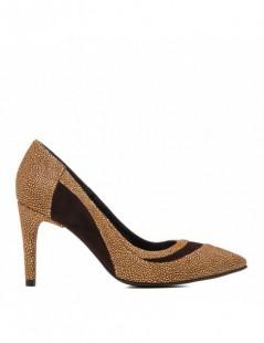 Pantofi dama Stiletto Insertion Brown Piele Naturala - The5thelement.ro