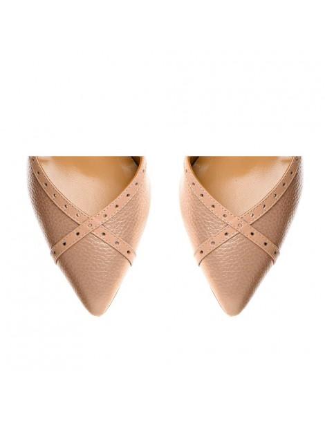 Pantofi Stiletto Piele Naturala Piersica Rihanna - The5thelement.ro