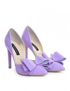 Pantofi dama Stiletto Lila Bow Piele Naturala - The5thelement.ro