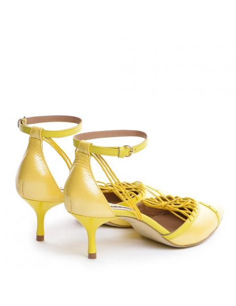 Pantofi Stiletto Piele Naturala Galben Rihanna - The5thelement.ro