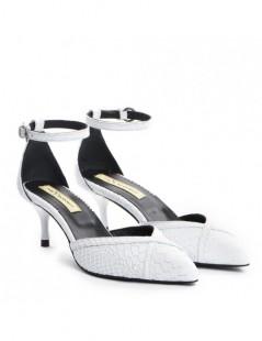 Pantofi Stiletto Piele Naturala alb Snake Rihanna - The5thelement.ro
