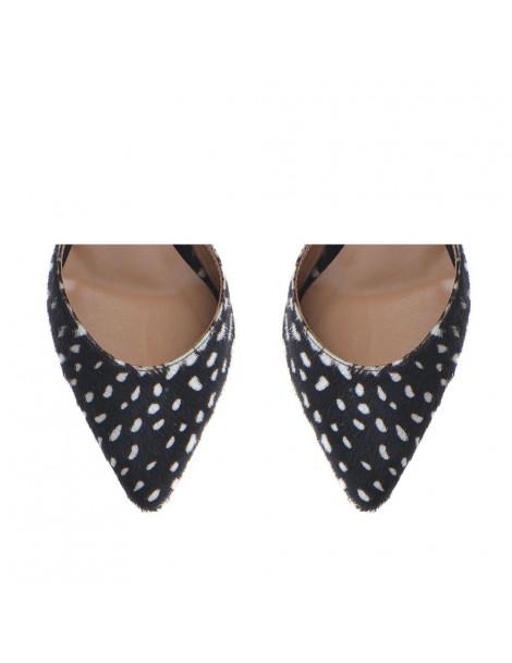 Pantofi Stiletto Piele Naturala Negru Dots Clara - The5thelement.ro