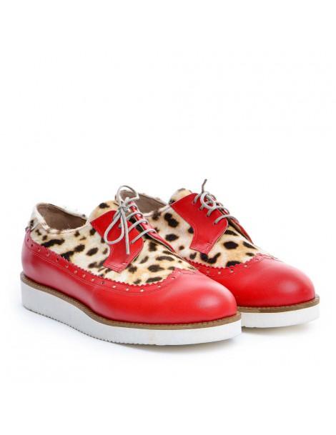 Pantofi dama Oxford Rosu Animal Print din Piele Naturala - The5thelement.ro