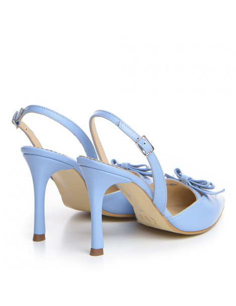 Pantofi Stiletto Piele Naturala Bleu Lola - The5thelement.ro