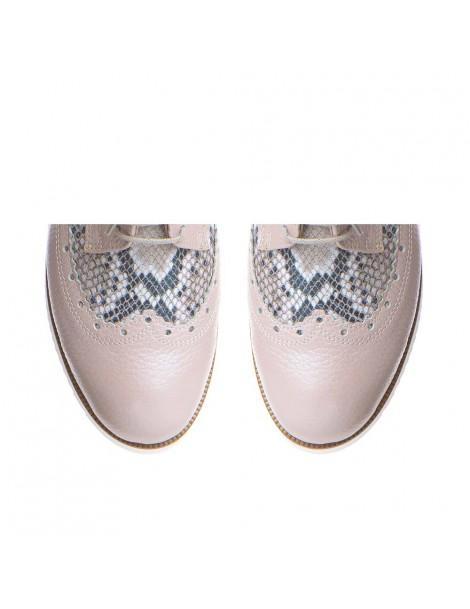 Pantofi dama Oxford Rose Snake din Piele Naturala - The5thelement.ro