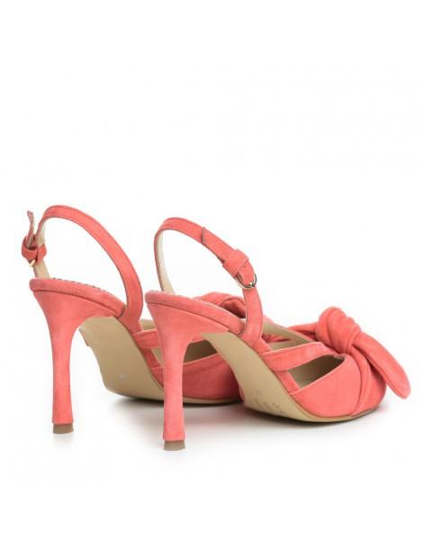 Pantofi Stiletto Piele Naturala Somon Bow Sasha - The5thelement.ro