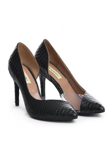 Pantofi dama Piele Naturala Negru Sarpe Leila - The5thelement.ro