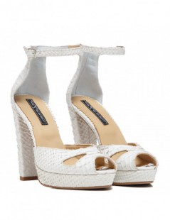 Sandale dama The 70's White Snake Piele Naturala - The5thelement.ro